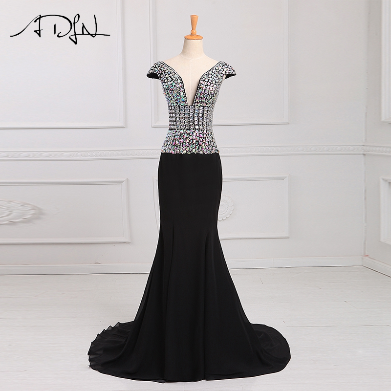 ADLN 2017 Custom Size V-Neck Mermaid Evening Dress Luxury Beading Crystal Black Prom Dresses vestidos cortos de gala