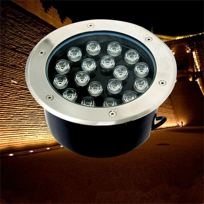 LED Underground Light 18W Round Buried Lamp Warm White RGB Outdoor Stair Lighting DC12V 24V AC85