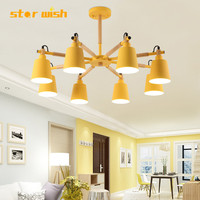 Star wish Modern colourful Solid wooden Pendant Lights Dining Room Hunging Lamps Restaurant Coffee Bedroom Lighting