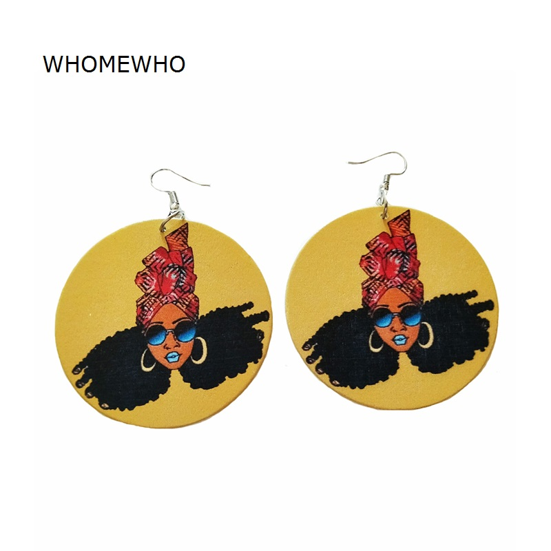 Wood Africa African Traditional Costume Beautiful Princess Girl Yellow Drop Earrings Vintage Bohemia Wooden Ear Jewelry