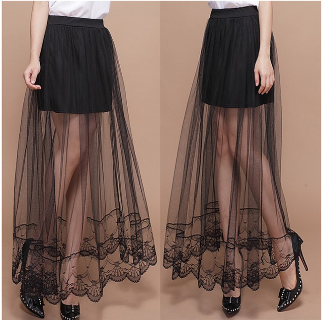 6cd2b37d37 2016 hot selling skirts women s fashion black white net skirts girls casual  summer nice long soft lace slim skirts lady  H560