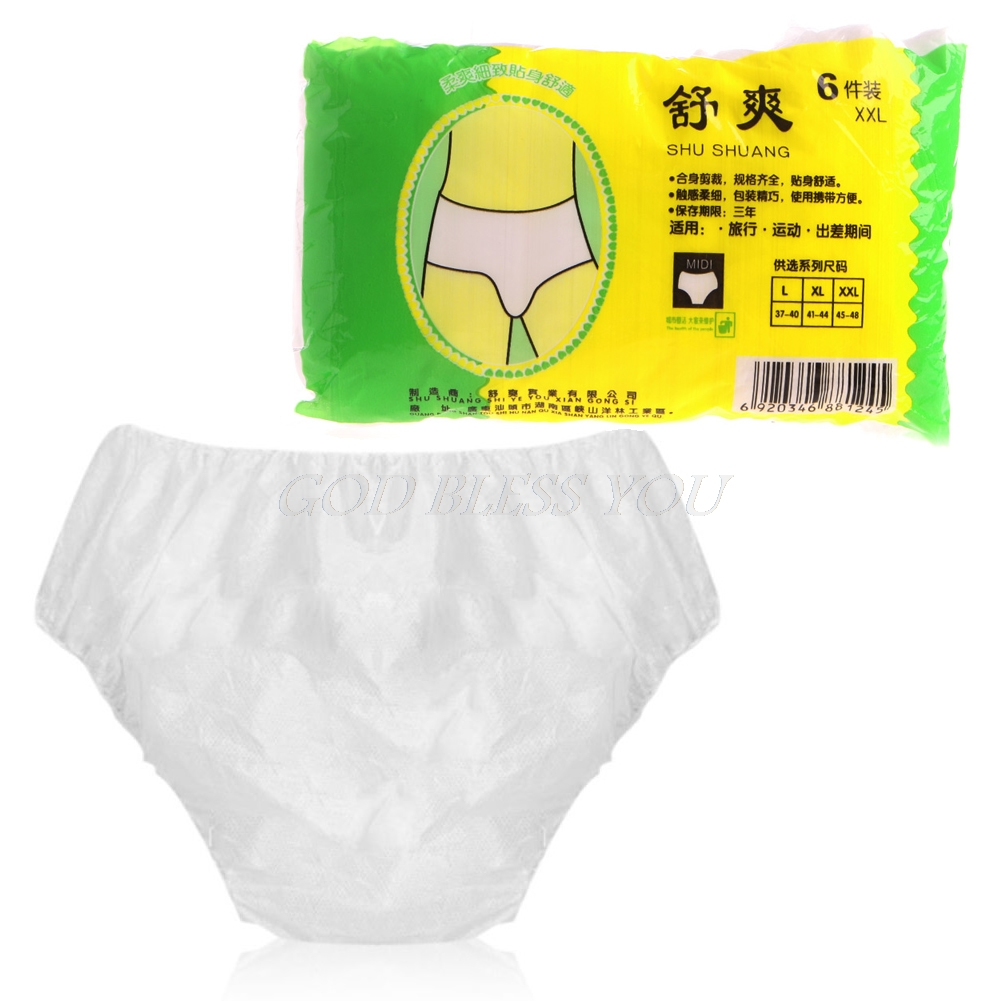 Hot 6Pcs/Set Disposable Non Woven Paper Brief Panties Underwear Ladies Women For Travel Adult Diapers