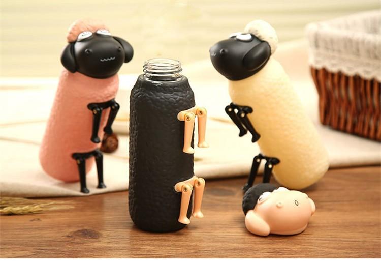 便携300ML可爱小羊水瓶柠檬罐便携玻璃饮品马克杯罐旅行户外奶瓶饮水杯12