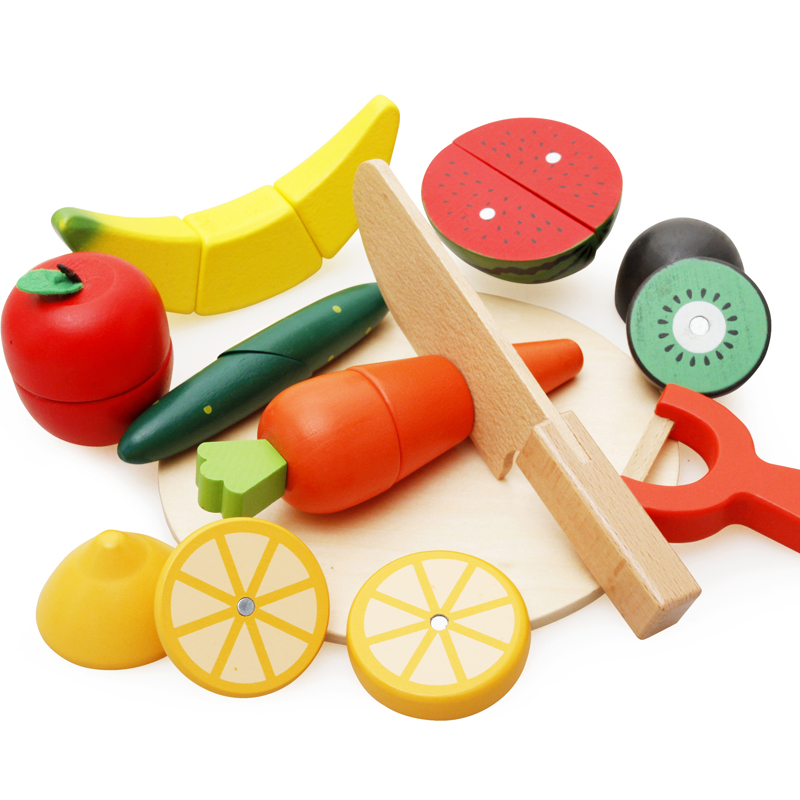 Coloful Children Wooden Cutting Fruit Vegetable Kitchen Toys Simulation Educational Cut Pretend Toys Play House Kids Toys
