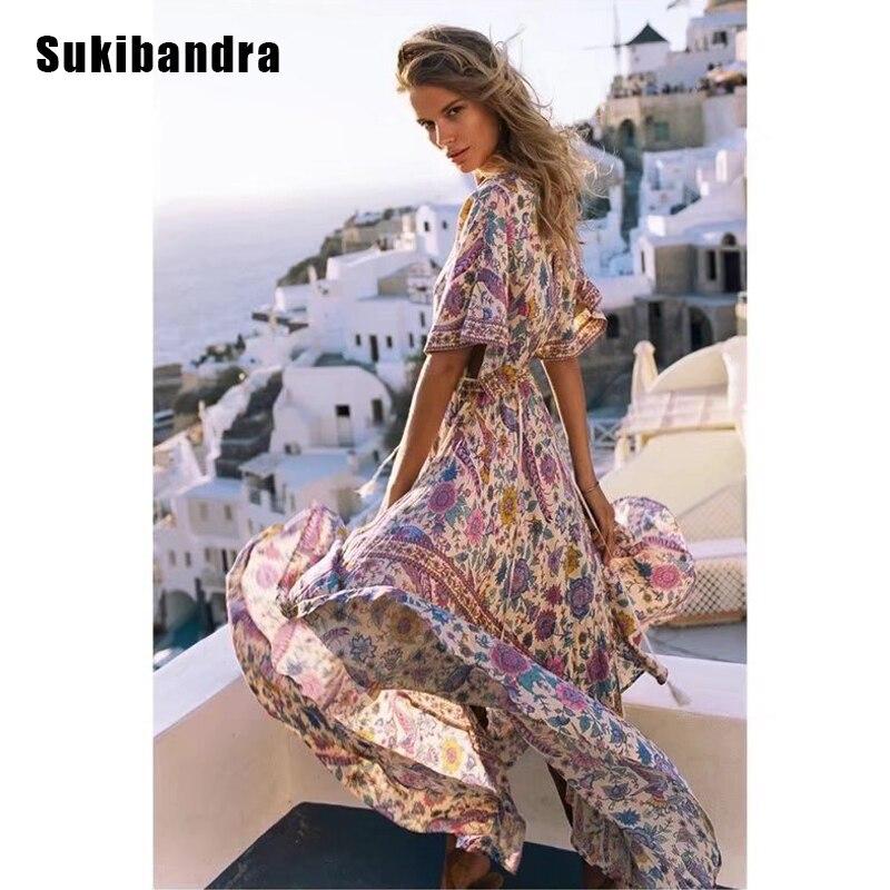 Sukibandra nouveau été Floral col en V à manches courtes robe bohème Hippie longue femmes robe bohème Maxi gland femme plage robe 2018