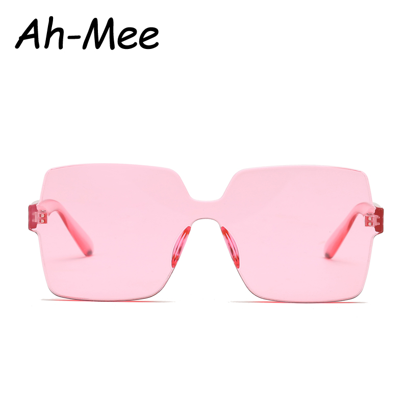 Vintage Square Sunglasses Women Men Brand Designer Retro Rimless Plastic Pink Sunglass Transparent Gradient Sun Glasses lunette