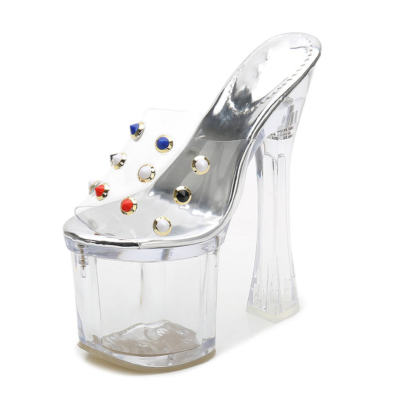 Femmes Cristal forme Stripper Talons Haute D'été Plate 18 Silentsea Chaussures Sandales Cm Lady Sexy Talon Clair Transparent Cqwfxg