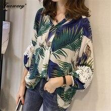 2018 Spring Lace V Neck Female Blusas Plus Size Women Clothing Women's Cotton Linen Floral Shirts Loose Long Sleeve Blouse