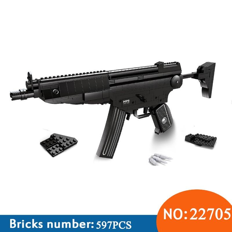 Ausini 22705 597 pcs Bras série le Heckler & Koch MP5 mitraillettes Modèle Blocs de Construction brinquedo Classique Jouets pour enfants