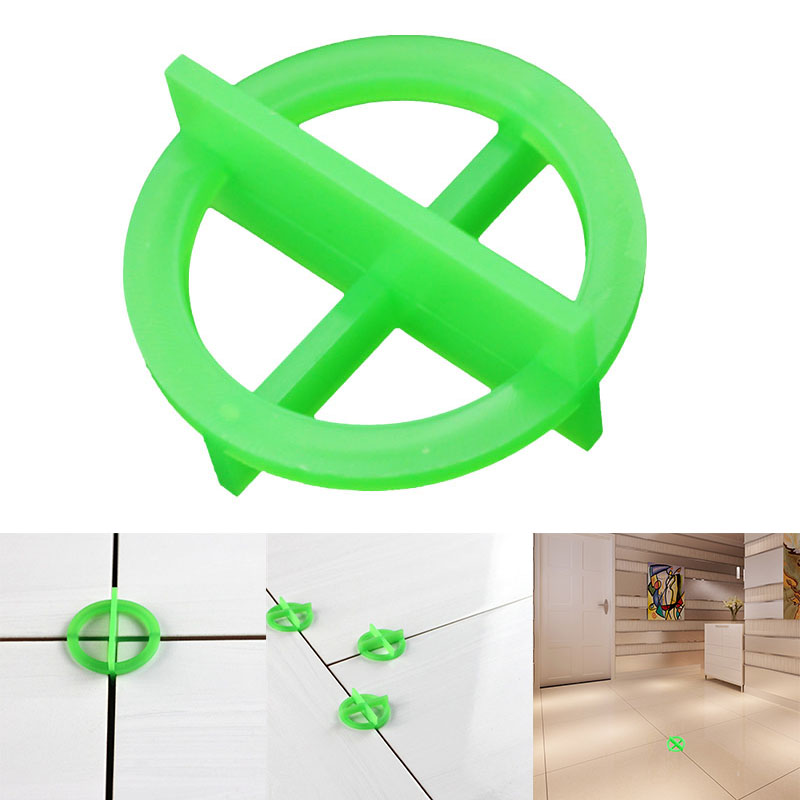 100pcs Green Cross Tile Leveling Recyclable Plastic Tile Leveling System Base Spacer WWO66