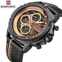 Luxury Brand NAVIFORCE Fashion Men's Quartz Sports Watches Man Leather Hollow Face 24 Hour Date Clock Men Waterproof Wrist watch