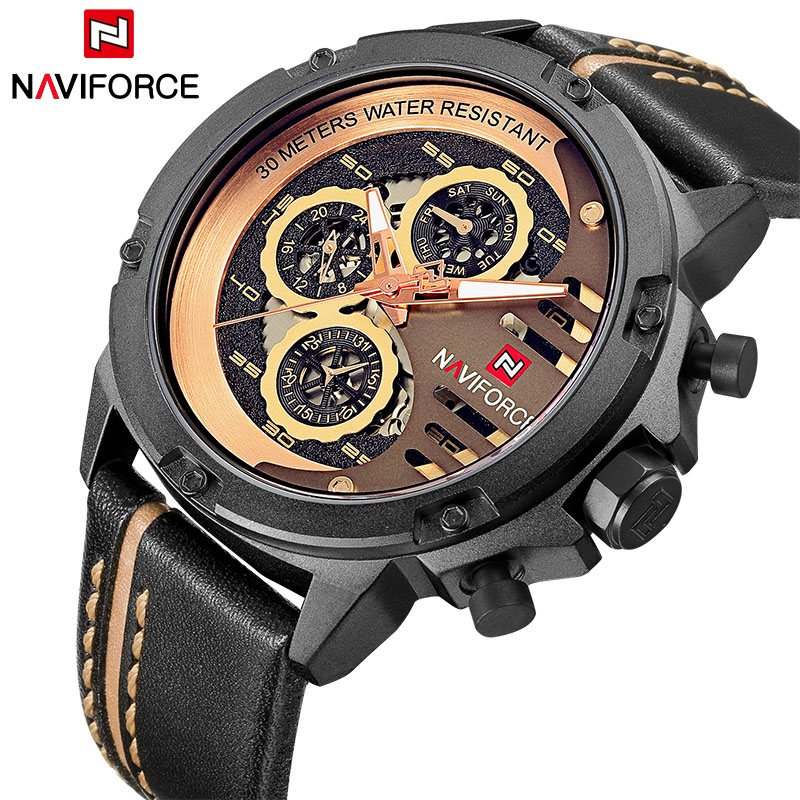Luxury Brand NAVIFORCE Fashion Men's Quartz Sports Watches Man Leather Hollow Face 24 Hour Date Clock Men Waterproof Wrist watch