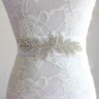 Sample Style Vine Crystal Rhinestone Beading Bridal Sashes Beautiful Pure Manual Leaf Shape Wedding Accessories