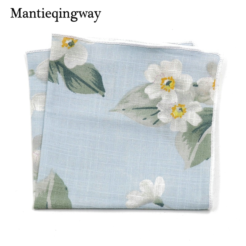 Mantieqingway Formal Wear Business Suit Pocket Square Handkerchiefs Fashion Casual Mens Hanky Wedding Cotton Floral Handkerchief