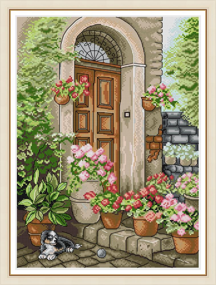 The Porch Of Summer Flowers Cross Stitch Kit Aida 14ct 11ct Count Print Canvas Cross Stitches   Needlework Embroidery DIY Handma
