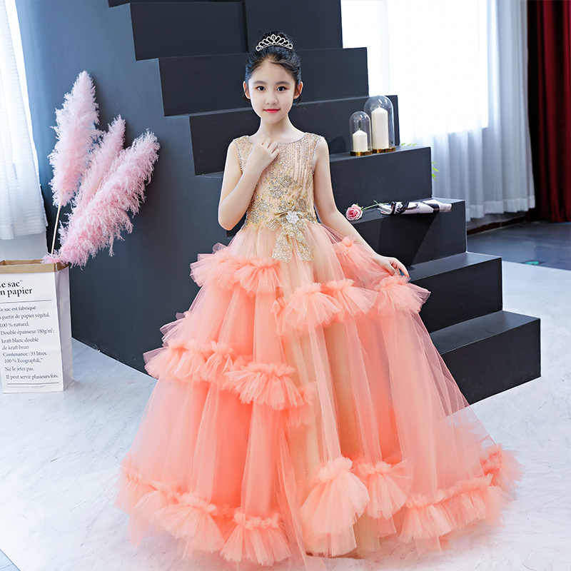 Luxury Gold Bling Flower Girl Dresses for Wedding Princess Evening Gowns Appliques Ball Gown First Holy Communion Dress B364