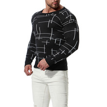 Men's British Style Line Pattern Slim Sweater Casual Men Round Neck Spot Knit Bottoming Shirt Sweater for 2018 New Male Pullover