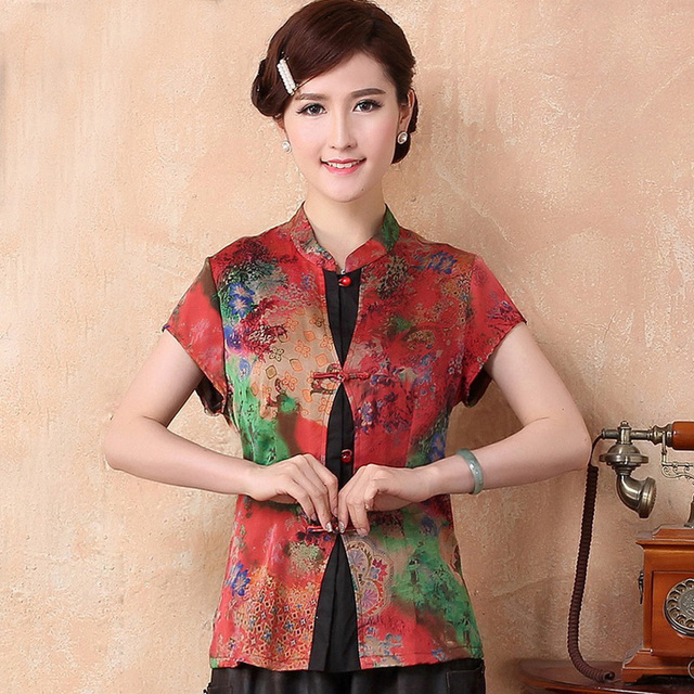 3d56e964009 Summer New 100% Silk Women Short Sleeve Shirt Silkworm Blouse Blusa Female  Buttercup Silk Shirt Tops Mujer Camisa TYR2099