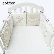 2017 Hot Sale Infant Crib Bumper Bed Protector Baby Børn Cotton Cot Nursery Sengetøj 6 pc plysj bjørn kofanger til dreng og pige