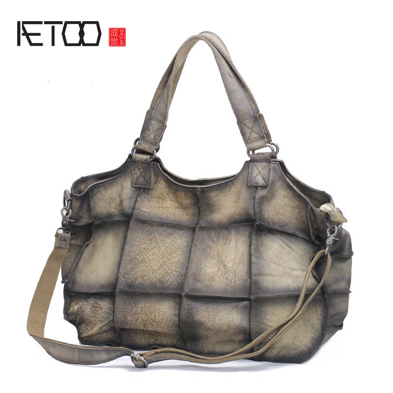 AETOO The first layer of leather leather handmade Mature female atmosphere shoulder shoulder Messenger bag Europe and the United aetoo spring and summer new leather handmade handmade first layer of planted tanned leather retro bag backpack bag