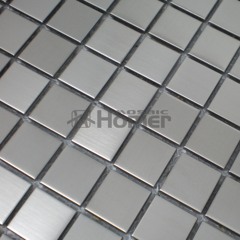 free shipping, 23x23mm silver stainless steel mosaic tile 12x12