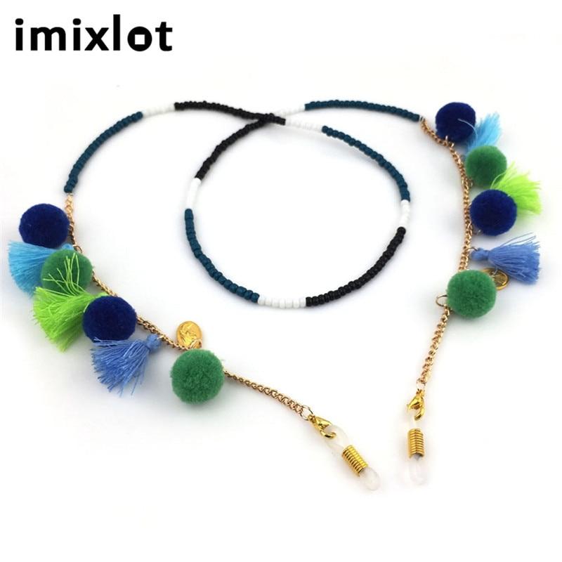 Gut Ausgebildete Imixlot Mode-design Frauen Acryl & Kaschmir Ball Gläser Seil Lanyard Sonnenbrille Ketten Exquisite Gläser Kabel Accessoires