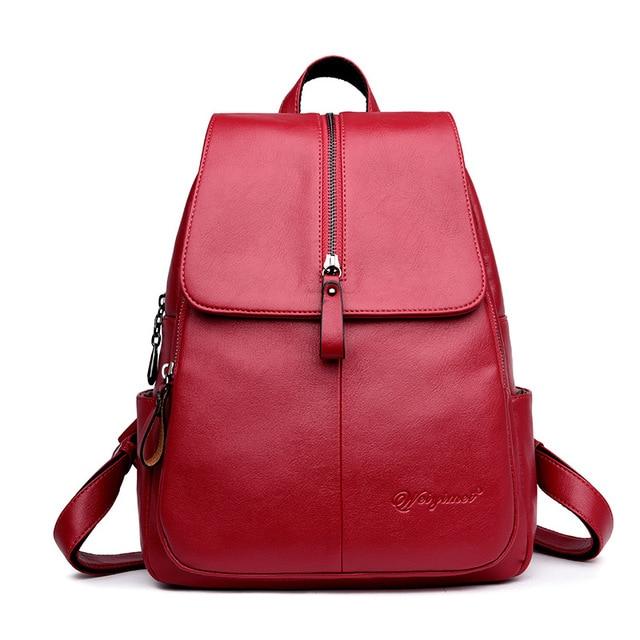 Chu JJ Fashion Women s Leather Backpacks Girls Students School Bag Small Shoulder  Bags Women Casual Travel Bag 57f4dc183d5a2