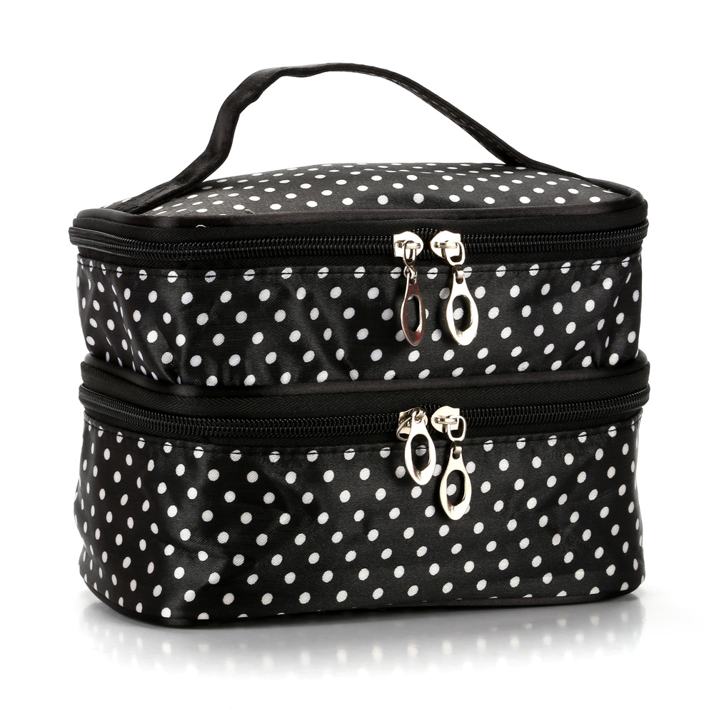 Makeup Pouch Toiletry Cosmetics Bag Han Edition Double Makeup Baoxiaobo Dot Dot Makeup Bag Handbag(China)