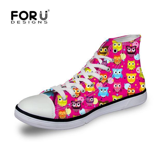 Women Fashion Canvas Shoes Female Casual Big Size Lovers Hightops Shoes Outdoors Casual Flats Cute Owl Print Shoes 6 Color
