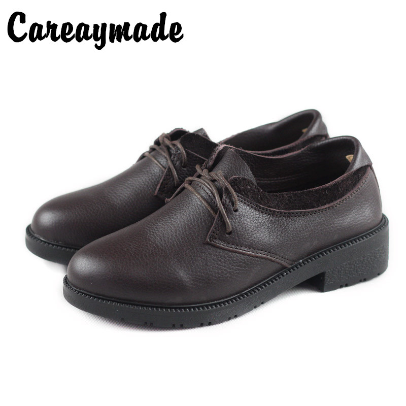 Careaymade-New British Leather Shoes,Women's Head Cowskin Laces Leisure Shoes,Women's Trendy Flat Bottom All-round Leather Shoes
