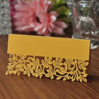 50pcs Pack Gold Leaf Shaped Laser Wedding Party Table Mark Card Name Place Cards Favor Decor