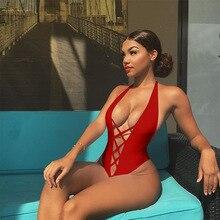 2019 красные пикантные одна деталь купальник женский сетки бразильский выдалбливают Цельный купальник со шнуровкой пляжные ванный комплект Монокини