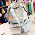 2017 de Moda de Nova Prata Holograma Laser Backpack Mulheres Mochilas de Couro PU Saco de Viagem Escola Zipper Multicolor Adolescentes Mochila