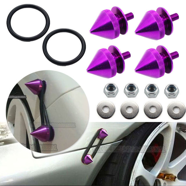 JDM Liberación Rápida Guardabarros Del Coche de Parachoques Tronco Tapa de Escotilla Kit de Fijación De Aluminio Púrpura