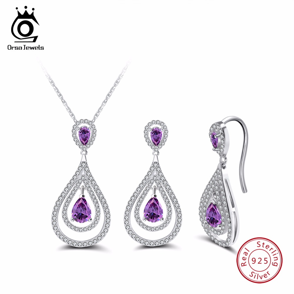 ORSA JEWELS Real 925 Sterling Silver Necklace&Earrings Sets For Women Water Drop Shape AAA Purple CZ Fashion Jewelry Set SS09 newshe 925 sterling silver rose gold color dangle drop earrings 6 ct red rhinestone heart shape aaa cz fashion jewelry for women
