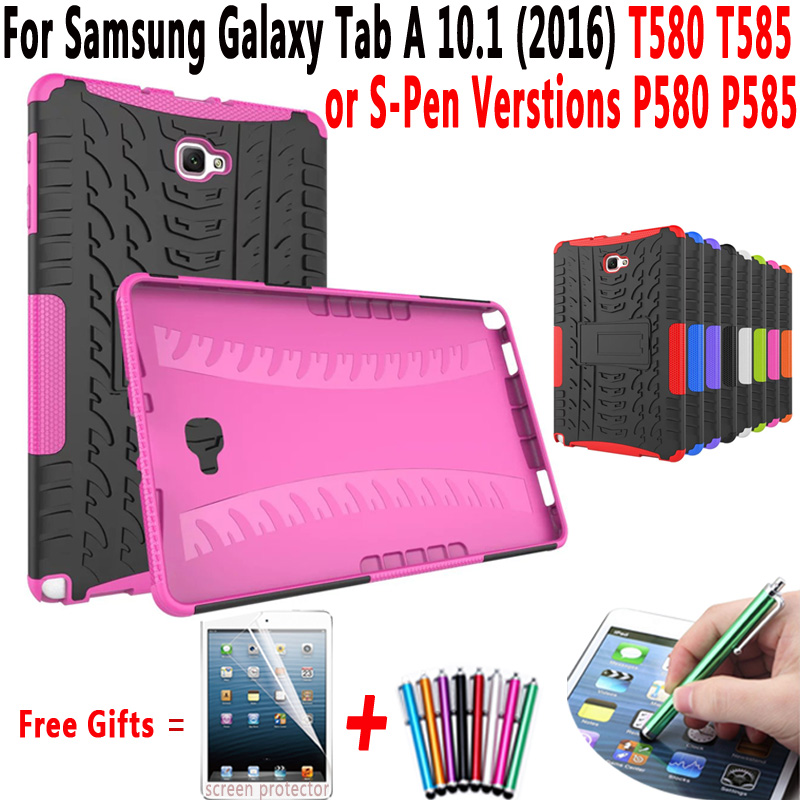For Samsung Galaxy Tab A 10.1 2016 T580 T585 Armor Kickstand Hard Cover for Samsung Galaxy Tab A 10.1 S-Pen Versions P580 P585 tire style tough rugged dual layer hybrid hard kickstand duty armor case for samsung galaxy tab a 10 1 2016 t580 tablet cover
