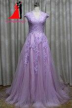 100% Real A-line Lilac Lace Wedding Dresses 2017 Tull Appliques Bridal Gown Vestido De Noiva Robe De Mariage