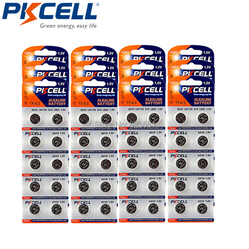 120Pcs 12Card PKCELL LR54 189 L1130 <font><b>AG10</b></font> Akaline Button Cell <font><b>Battery</b></font> <font><b>1.5V</b></font> For Bullets Eggs Watches Calculators Remote Control image