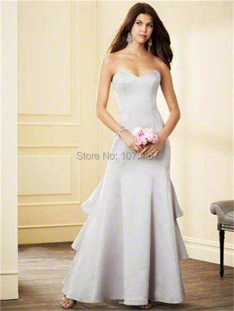 Custom Made Junior Bridesmaid Dress 2015 Sweetheart Silver Dress For