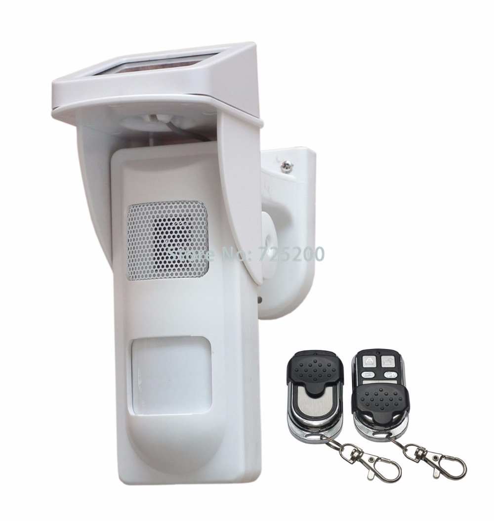 Standalone Outdoor Solar Infrared Passive PIR Alarm Detector System w Sound&Flash Reminder and Remote Control to Arm/Disarm