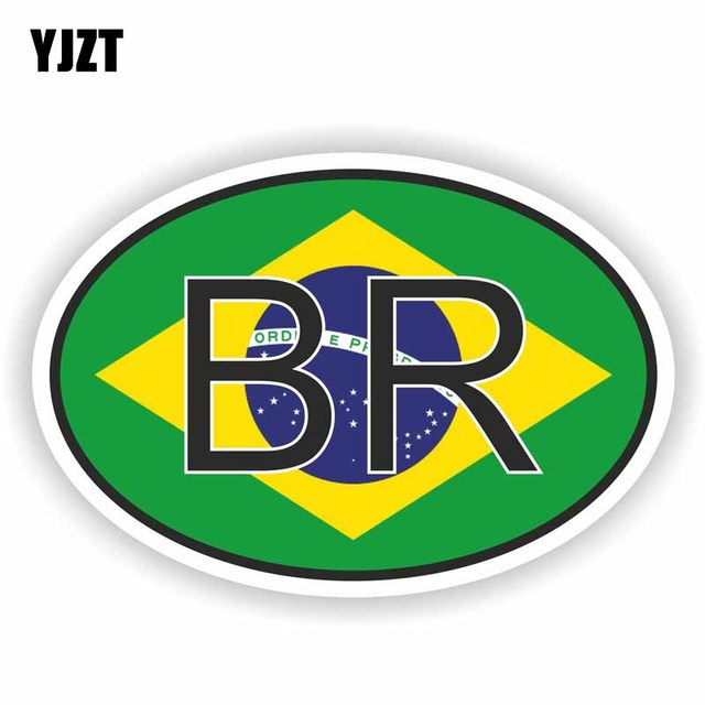 Yjzt 13 5cm 9cm Reflective Brazil Country Code Personality Car Sticker Pvc Decal 6 0264