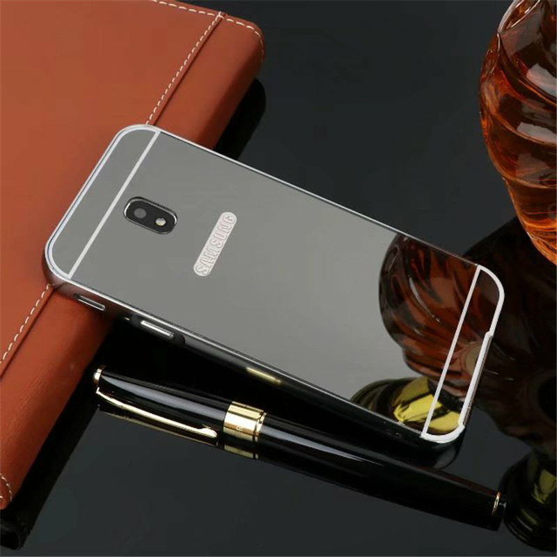ZEALLION For Samsung Galaxy J3 J5 J7 2017 EU Version J330 Case Luxury Electroplating Mirror Aluminum Frame + Hard PC Cases Cover