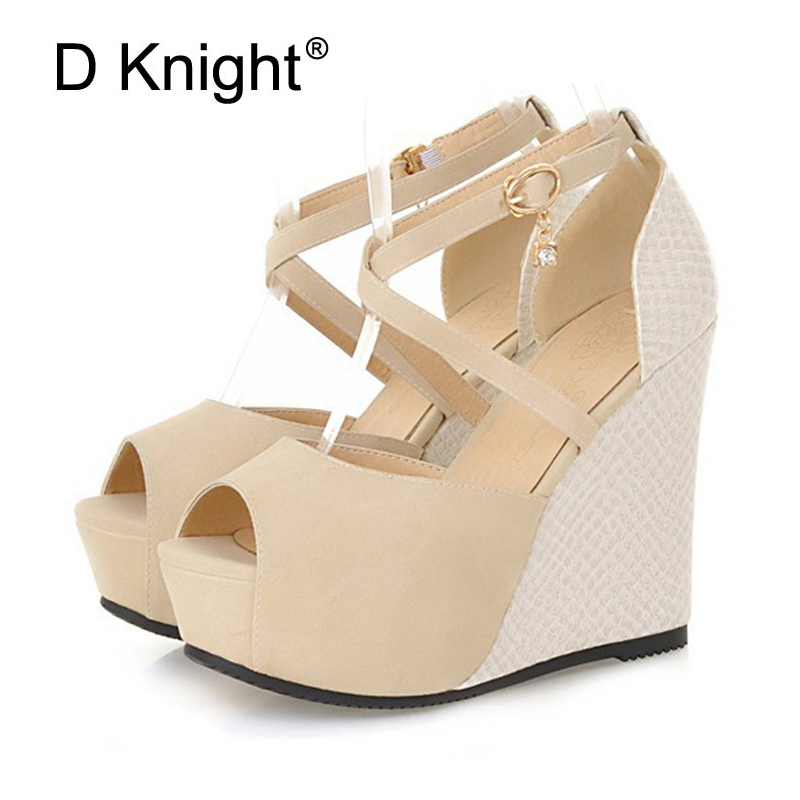 Fashion Cross Strap Platform Wedge Sandals Peep Toe High HeelsFor Women Summer Buckle Casual Shoes Woman Gladiators Sandals 2017 lin king new woman sandals platform summer shoes women sweet bowtie buckle wedge lady sandals fashion open toe single shoes