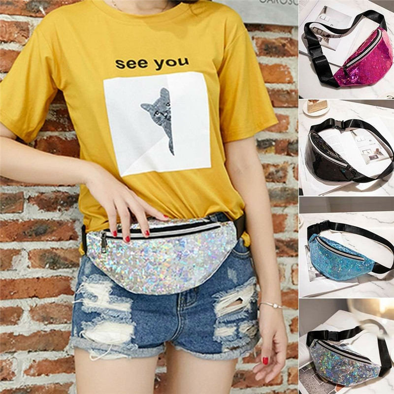 12 Colors New 2019  Fashion Holographic Waist Bag For Women Laser Fanny Pack Belt Bag Bum Bag Unisex Banana Bags