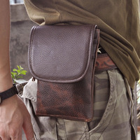 100 Natural First Layer Cowhide Leather Double Hook Small Waist Pack With Cell Phone Case Men