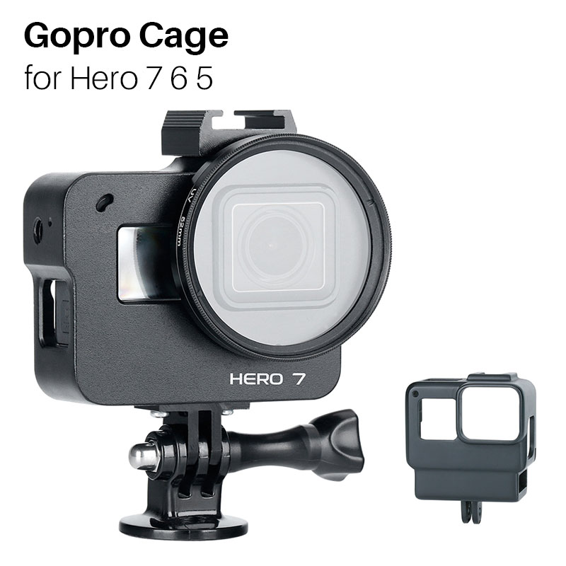 Gopro Cage Hero 7 6 5 Camera Protection Frame with Filter, Action Camera Accessories with Hot Shoe for Microphone Light