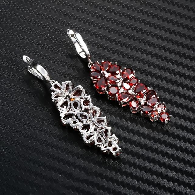 Gem's Ballet 4.31Ct Natural Red Garnet Gemstone Drop Earrings Solid 925 Sterling Silver Fine Jewelry For Women Wedding
