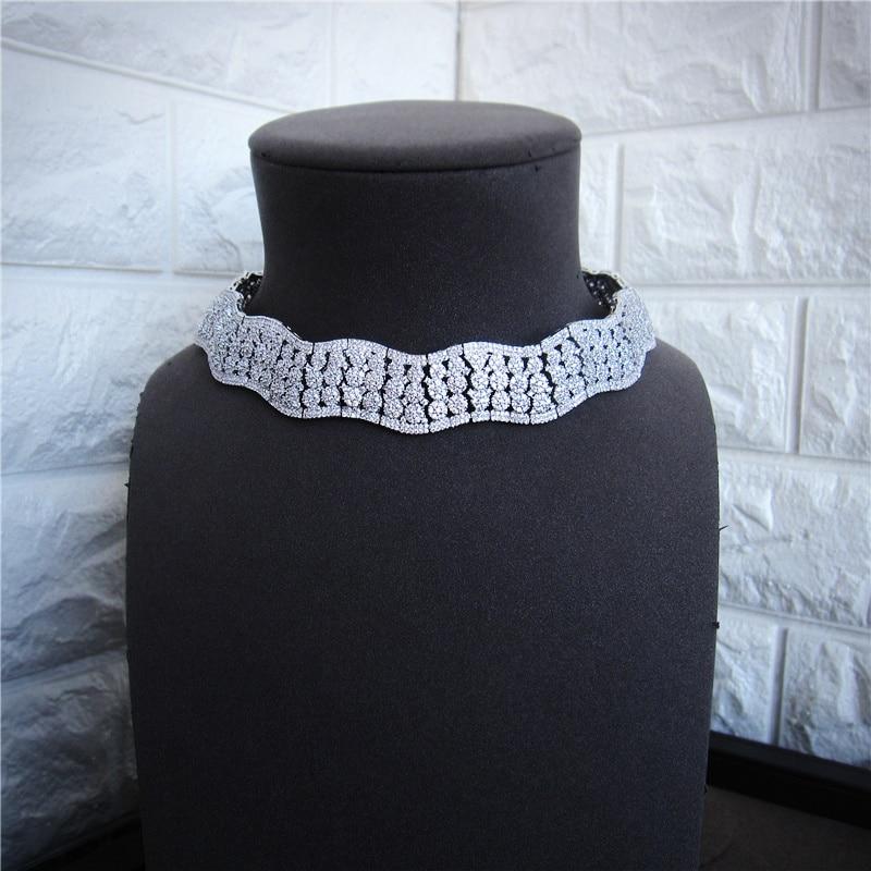 Luxe AAA zircon cubique pavé ras du cou collier, boucles d'oreilles, bracelet et bague 4 pièces dubaï ensemble de bijoux pour femmes, S4813