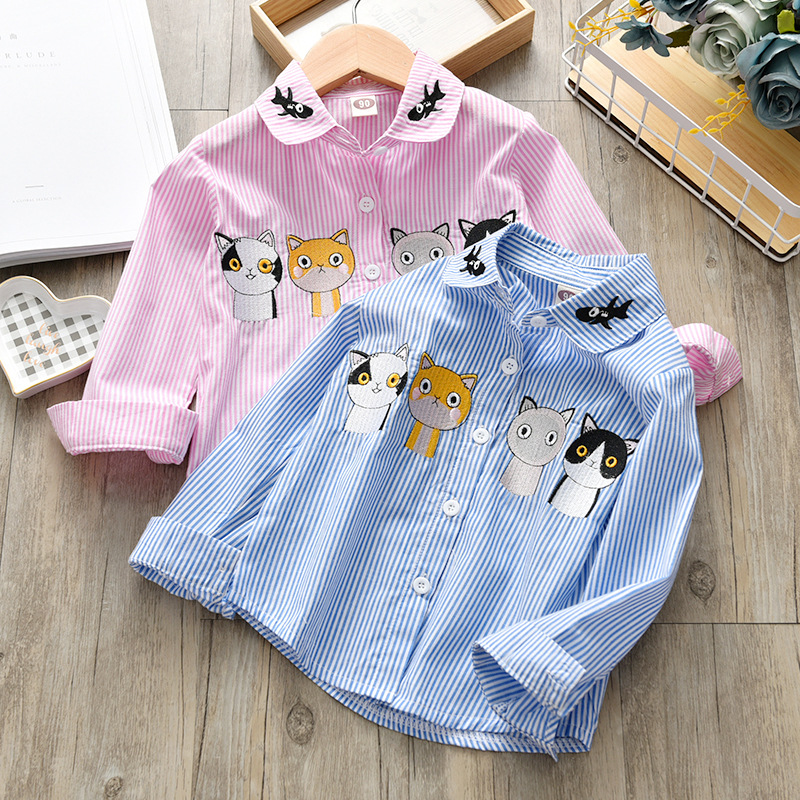 Toddler girl   shirts   2019 Fall Spring Baby Striped Cartoon Long Sleeve   shirt   for girls   Blouse   cotton Kids children boys   shirts