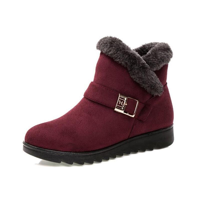 Women ankle boots 2018 winter boots zipper non-slip warm winter shoes women snow boots mother shoes size 35- 41